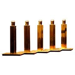1960s, Set of Five Hollywood Regency Polished Brass Table Lamps by Örsjö, Sweden