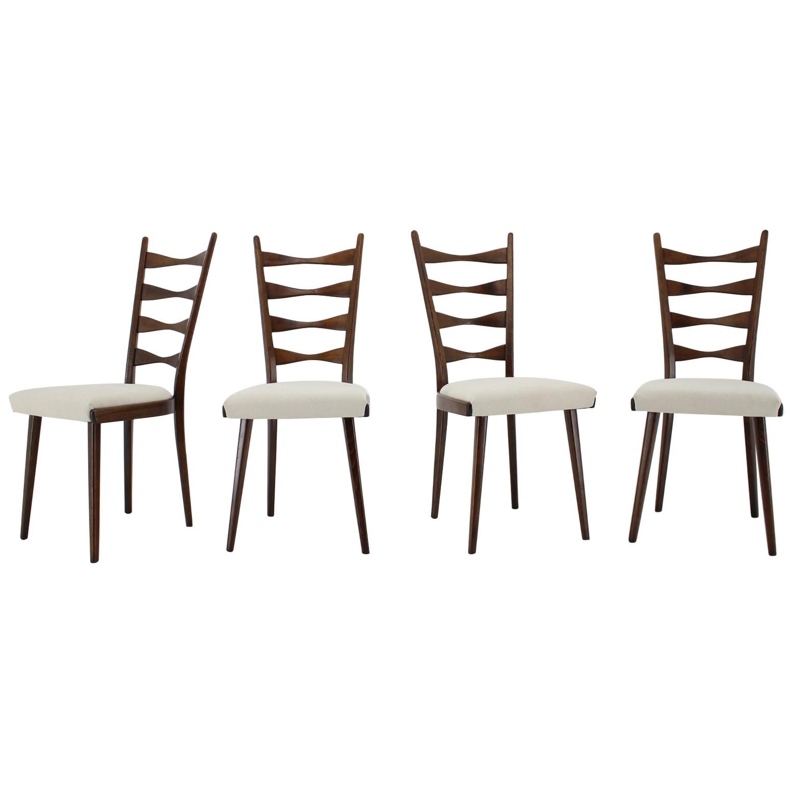 1960s Set of Four Beech Dining Chairs, Czechoslovakia