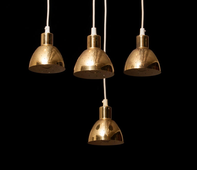 1960s Set of Four Brass Pendants by Hans-Agne Jakobsson for Markaryd, Sweden 4