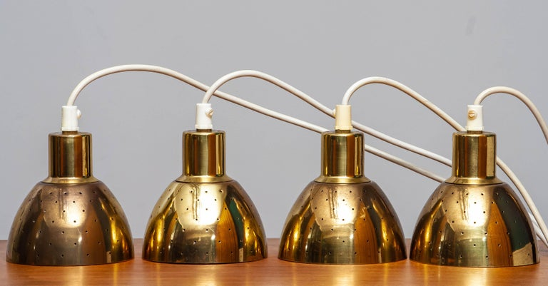 1960s Set of Four Brass Pendants by Hans-Agne Jakobsson for Markaryd, Sweden 5