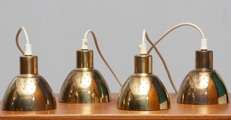 1960s Set of Four Brass Pendants by Hans-Agne Jakobsson for Markaryd, Sweden 6
