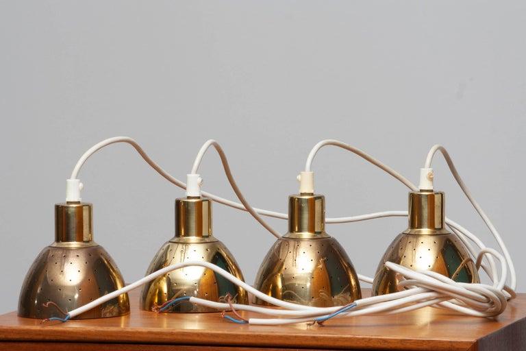 1960s Set of Four Brass Pendants by Hans-Agne Jakobsson for Markaryd, Sweden 7