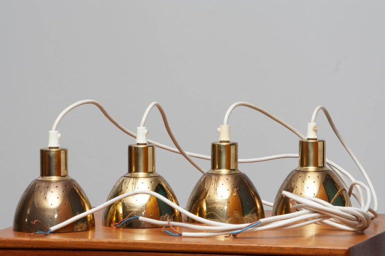 1960s Set of Four Brass Pendants by Hans-Agne Jakobsson for Markaryd, Sweden 7