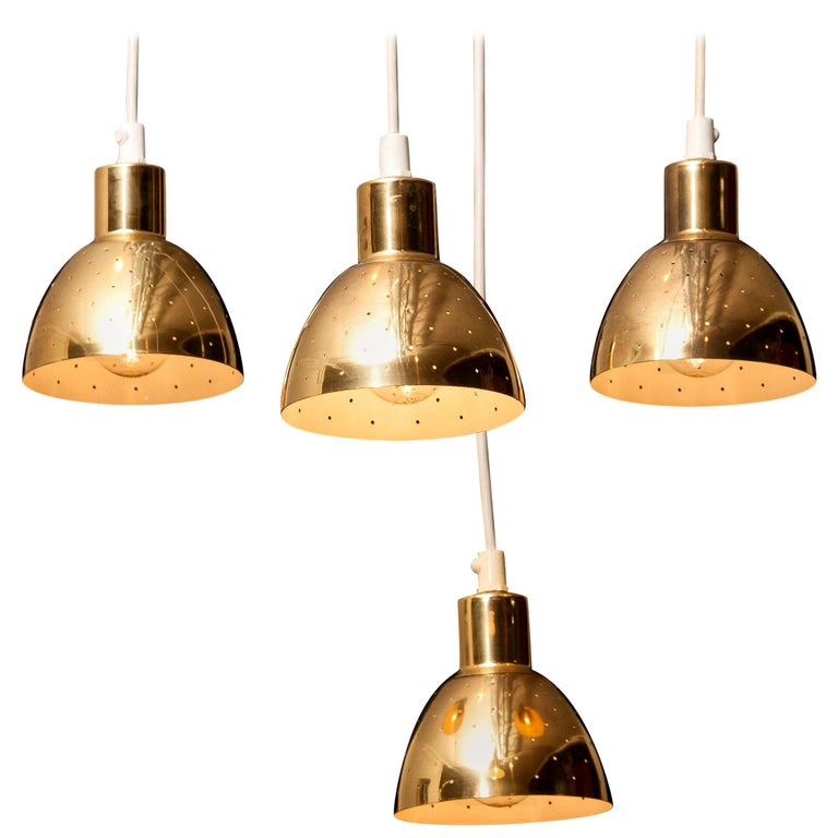 Mid-Century Modern 1960s Set of Four Brass Pendants by Hans-Agne Jakobsson for Markaryd, Sweden
