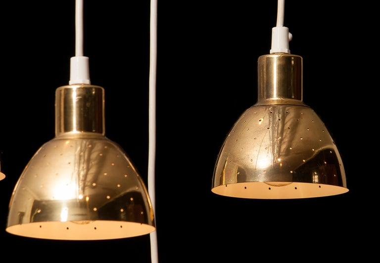 1960s Set of Four Brass Pendants by Hans-Agne Jakobsson for Markaryd, Sweden 1