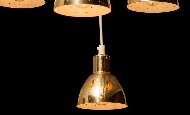 1960s Set of Four Brass Pendants by Hans-Agne Jakobsson for Markaryd, Sweden 3