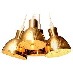 1960s Set of Four Brass Pendants by Hans-Agne Jakobsson for Markaryd, Sweden