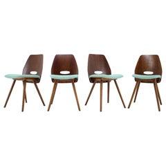1960s Set of Four Frantisek Jirak Dining Chairs, Czechoslovakia