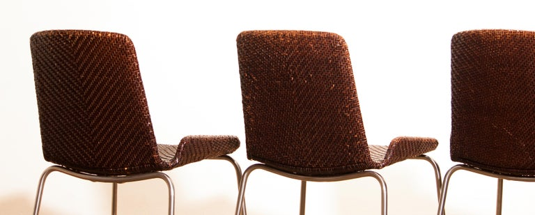 1960s, Set of Four Leather Braided Dining Chairs, Italy For Sale 6