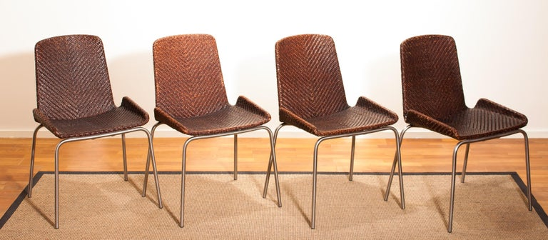 1960s, Set of Four Leather Braided Dining Chairs, Italy For Sale 8