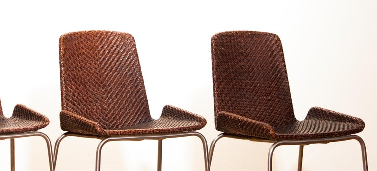 1960s, Set of Four Leather Braided Dining Chairs, Italy For Sale 10