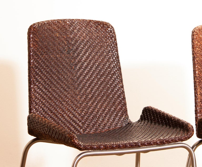 1960s, Set of Four Leather Braided Dining Chairs, Italy For Sale 11