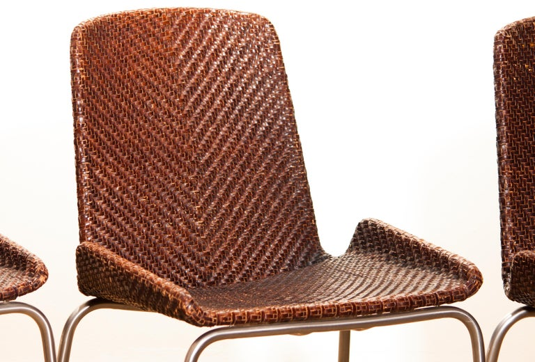 1960s, Set of Four Leather Braided Dining Chairs, Italy For Sale 13