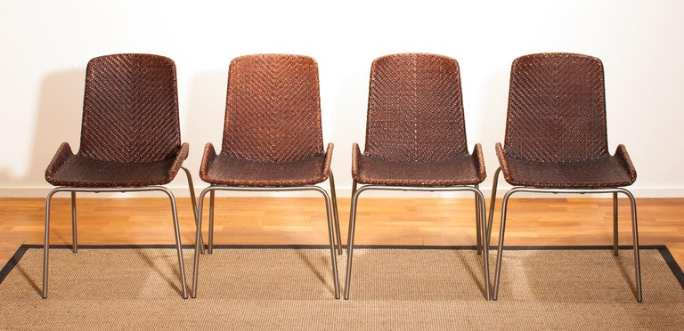 1960s, Set of Four Leather Braided Dining Chairs, Italy In Excellent Condition For Sale In Silvolde, Gelderland