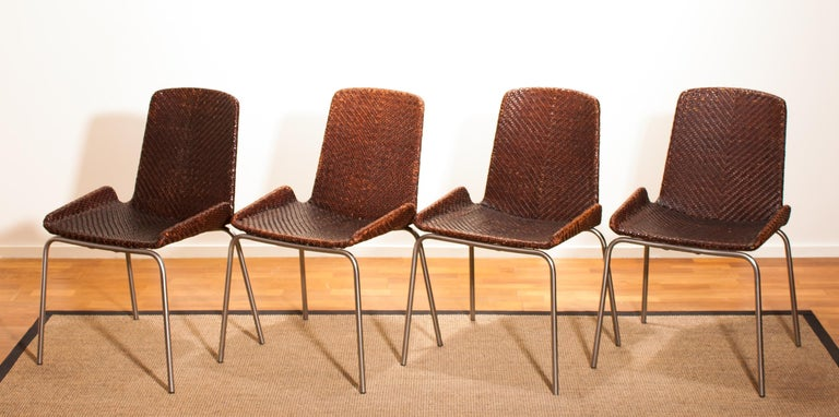 Mid-20th Century 1960s, Set of Four Leather Braided Dining Chairs, Italy For Sale