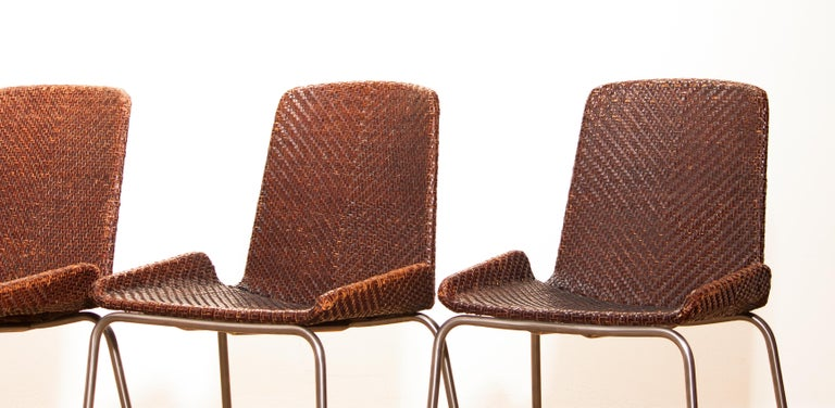 1960s, Set of Four Leather Braided Dining Chairs, Italy For Sale 1