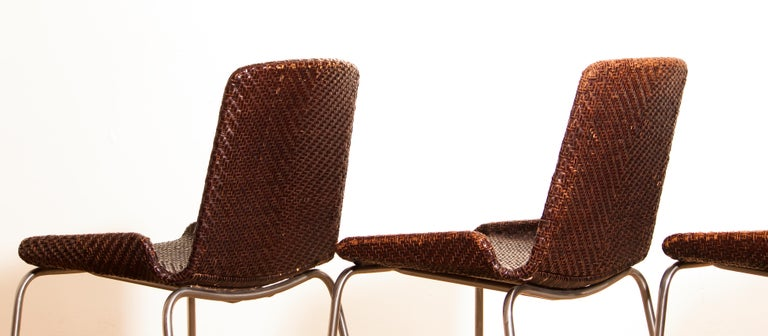 1960s, Set of Four Leather Braided Dining Chairs, Italy For Sale 3