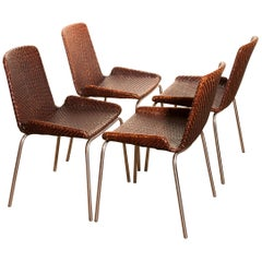 1960s, Set of Four Leather Braided Dining Chairs, Italy