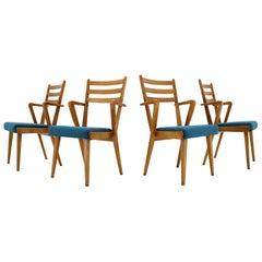 1960s Set of Four Oak Dining Chairs, Czechoslovakia