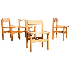 1960s, Set of Four Pine Dining Chairs by Edvin Helseth, Norway