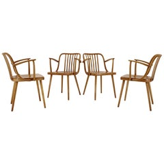 1960s Set of Four Rare Antonin Suman Dining Chairs, Czechoslovakia