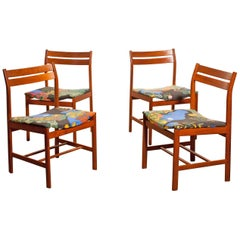 1960s, Set of Four Teak Dining Chairs by Josef Frank