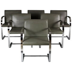 1960s Set of Six Brno Chairs, Mies van der Rohe for Knoll, Distressed Upholstery