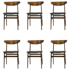 1960s Set of Six Danish Th. Harlev Dining Chairs in Teak and Beech by Farstrup