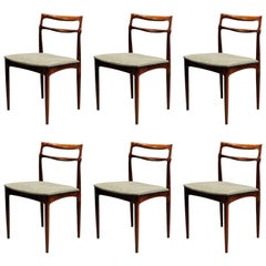1960s Set of Six Johannes Andersen Chairs in Rosewood and Kvadrat Upholstery