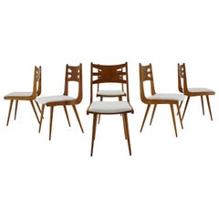 1960s Set of Six Rare Oak Dining Chairs, Czechoslovakia