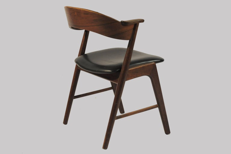 Scandinavian Modern Six Refinished Rosewood Dining Chairs, Reupholstery For Sale
