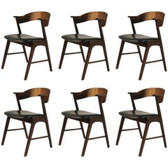 Six Refinished Rosewood Dining Chairs Known as Model 32, Inc. Reupholstery