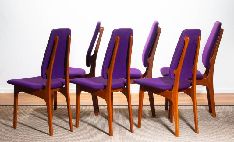 1960s Set of Six Slim Teak High Back Dinning Chairs by Erik Buch for O.D. Møbler For Sale 5