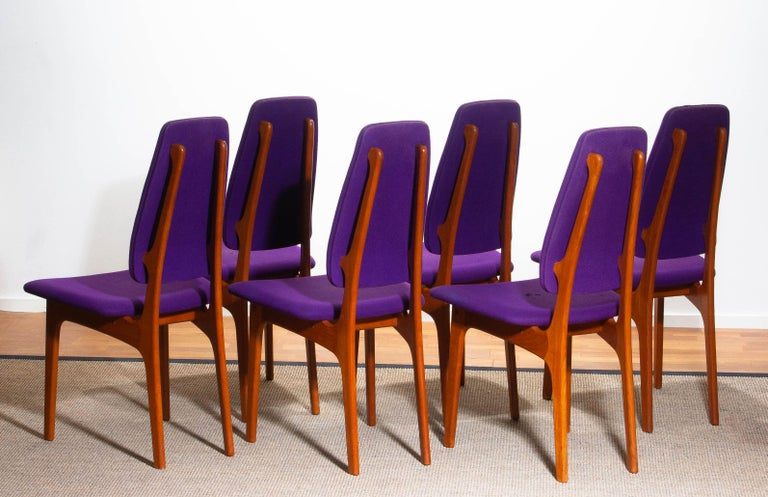 1960s Set of Six Slim Teak High Back Dinning Chairs by Erik Buch for O.D. Møbler For Sale 6