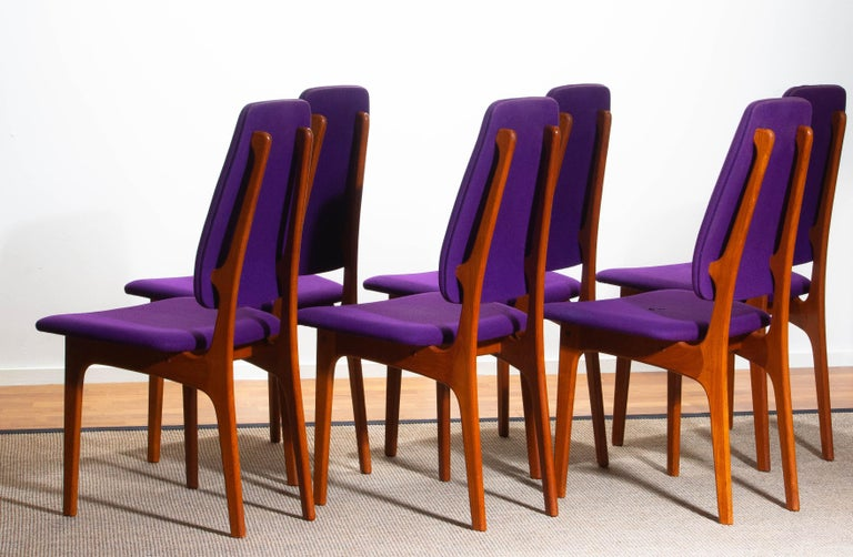 1960s Set of Six Slim Teak High Back Dinning Chairs by Erik Buch for O.D. Møbler For Sale 7