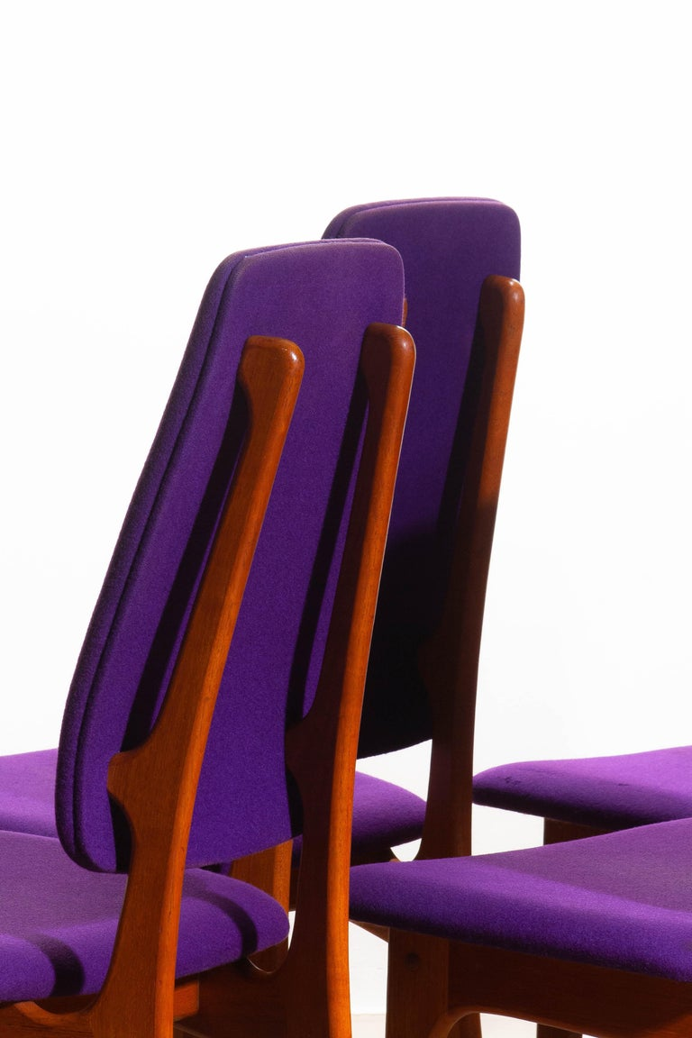 1960s Set of Six Slim Teak High Back Dinning Chairs by Erik Buch for O.D. Møbler For Sale 8
