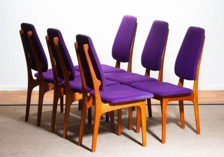 1960s Set of Six Slim Teak High Back Dinning Chairs by Erik Buch for O.D. Møbler For Sale 9