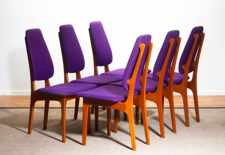 1960s Set of Six Slim Teak High Back Dinning Chairs by Erik Buch for O.D. Møbler For Sale 10
