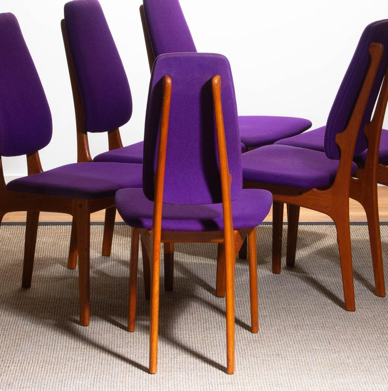 1960s Set of Six Slim Teak High Back Dinning Chairs by Erik Buch for O.D. Møbler For Sale 11