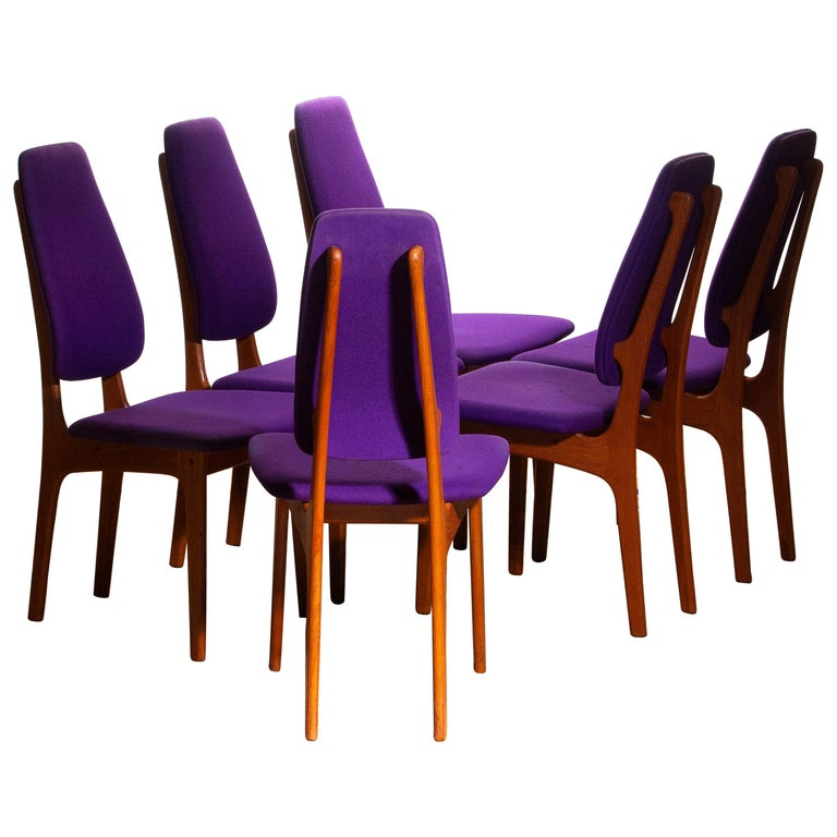 Rare set of six dining chairs from the 1960s in teak designed by Erik Buch for O.D. Møbler A.S., Denmark. Beautiful aspects are the slim and high back rests. Chairs are marked
