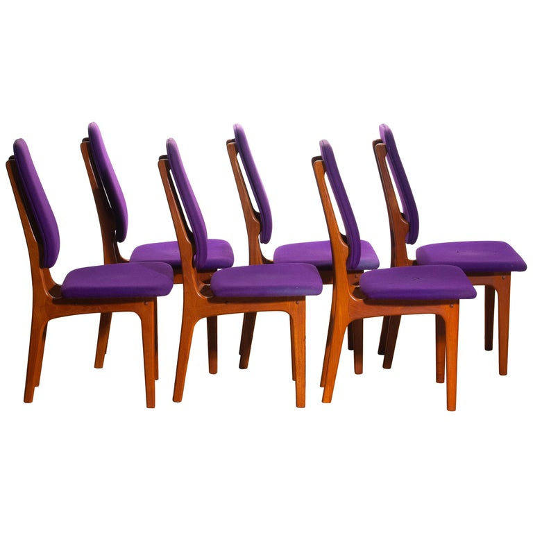 Danish 1960s Set of Six Slim Teak High Back Dinning Chairs by Erik Buch for O.D. Møbler For Sale