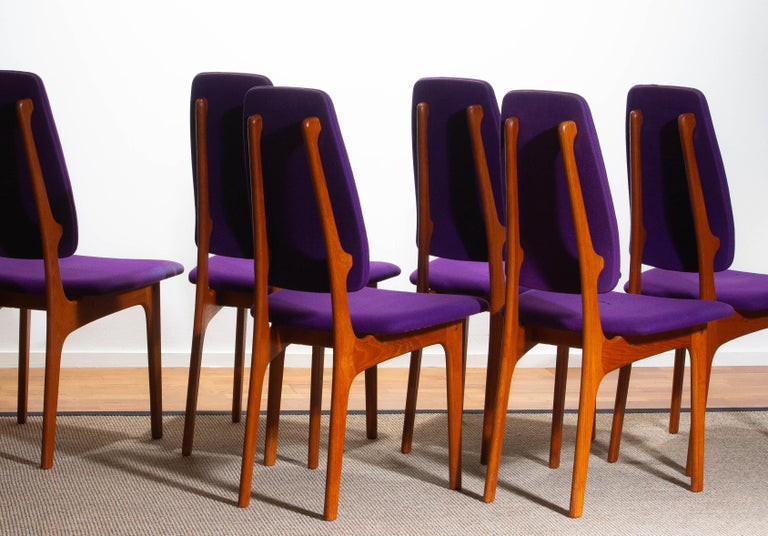 Mid-20th Century 1960s Set of Six Slim Teak High Back Dinning Chairs by Erik Buch for O.D. Møbler For Sale