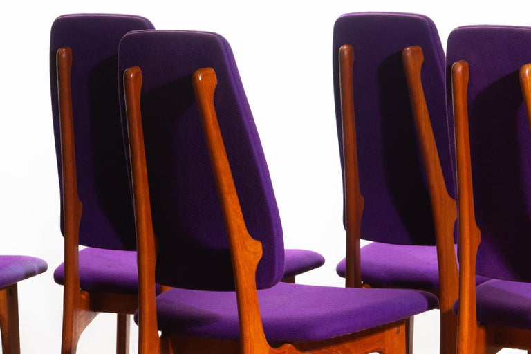 Fabric 1960s Set of Six Slim Teak High Back Dinning Chairs by Erik Buch for O.D. Møbler For Sale