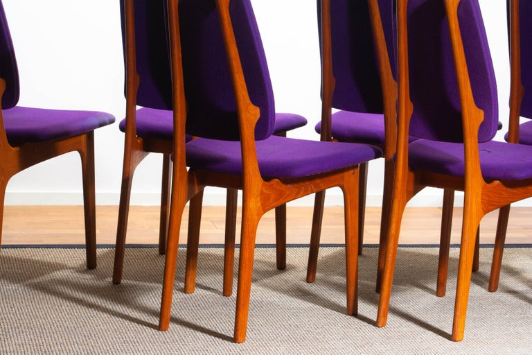 1960s Set of Six Slim Teak High Back Dinning Chairs by Erik Buch for O.D. Møbler For Sale 1