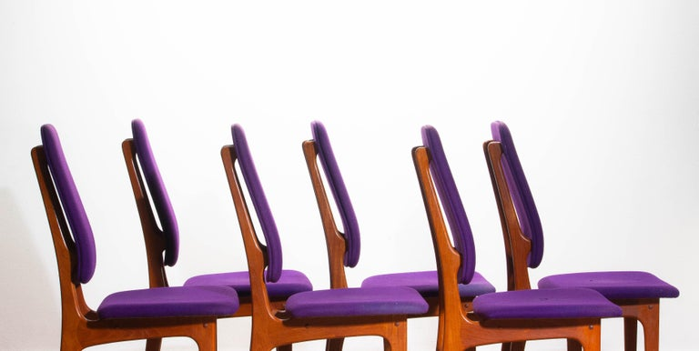1960s Set of Six Slim Teak High Back Dinning Chairs by Erik Buch for O.D. Møbler For Sale 2