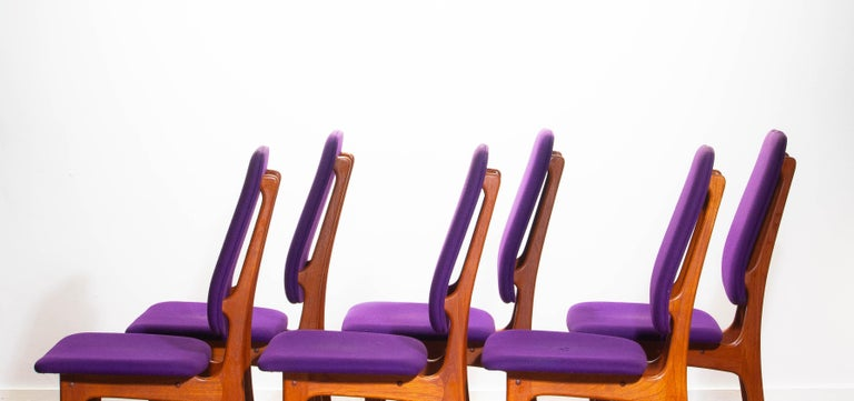 1960s Set of Six Slim Teak High Back Dinning Chairs by Erik Buch for O.D. Møbler For Sale 3