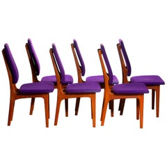1960s Set of Six Slim Teak High Back Dinning Chairs by Erik Buch for O.D. Møbler