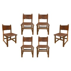 1960s Set of Six Spanish Wood & Leather Chairs
