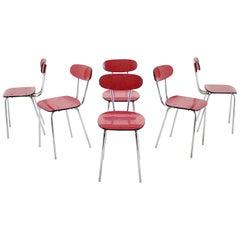 1960s Set of Six Umakart/Chrome-Plated Dining Chairs, Czechoslovakia