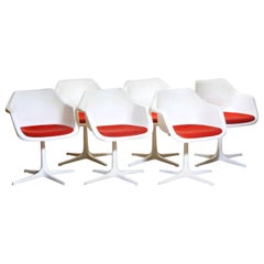 1960s, Set of Six White Swivel Chair by Robin Day for Hille, France
